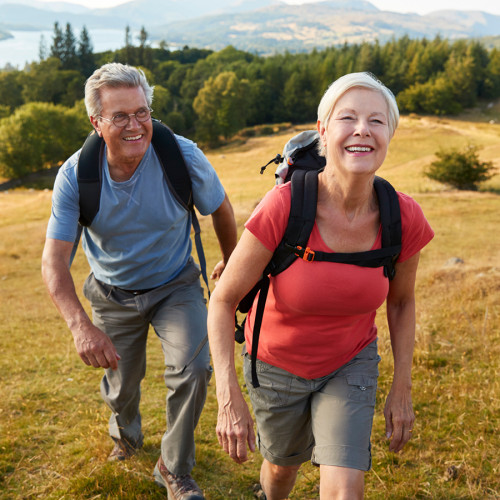 Retired people hiking